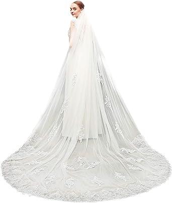 Black Lace edge Veil 1Tier Cathedral Veil White//Ivory//Black Wedding Bridal Veil