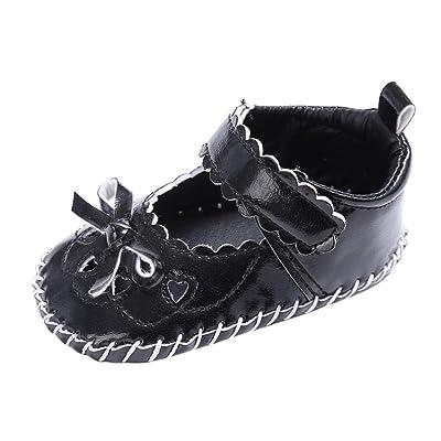 BZLine® Bowknot Cœur Ciselé Cuir Artificiel Chaussures à Semelle Souple pour Bébés Filles 0~18Mois