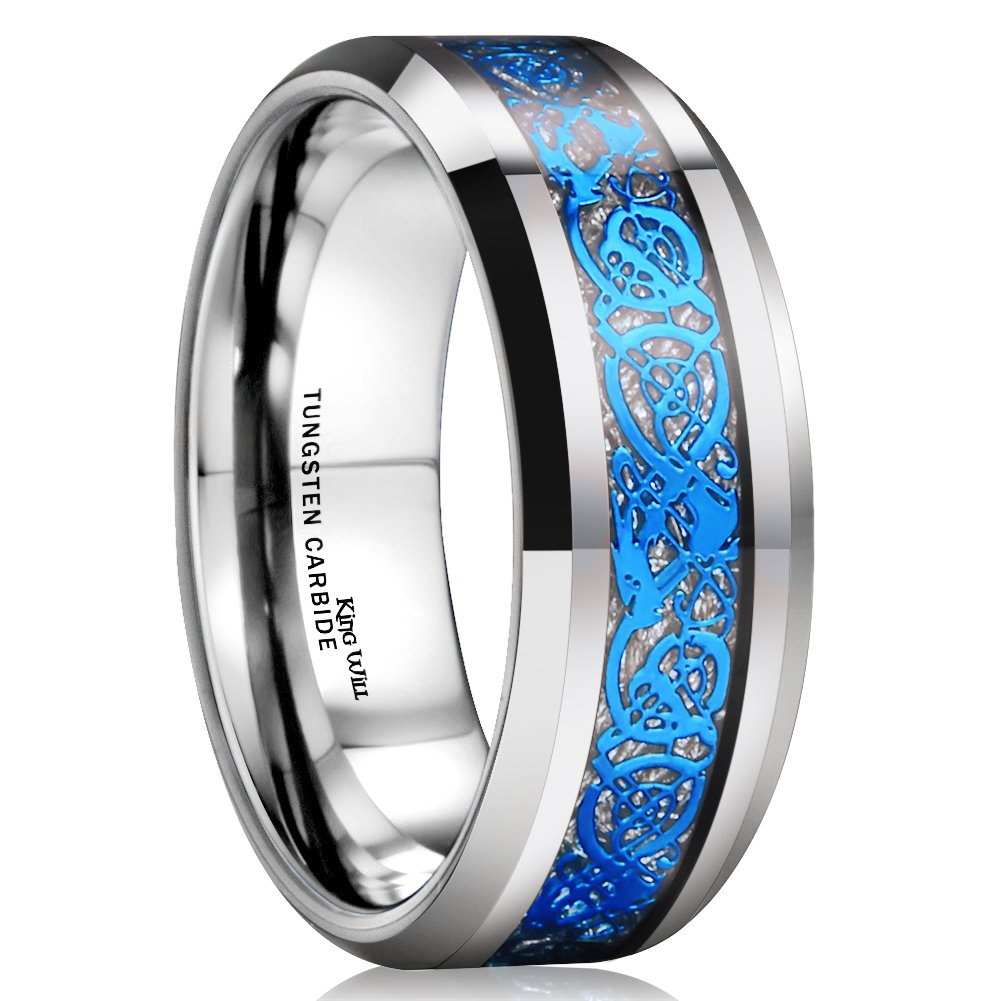 King Will Dragon Men Women 8mm Tungsten Carbide Ring Blue Celtic Imitated Meteorite Inlay Ring Beveled Edge(10) by King Will (Image #1)