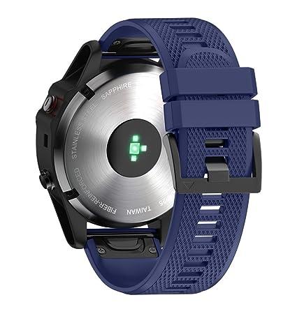 LANSKIRT Reemplazo de Silicona Liberación rápida Ajuste fácil Reloj de Pulsera Accesorios para Relojes Extensibles Pulsera para Garmin Fenix 5X Plus: ...