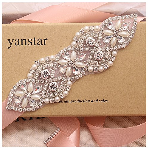 Yanstar Blush Sash Wedding Bridal Belts In Silver Crystal With Pears Beaded On Wedding Dress Prom Gown-5.5In1.6In