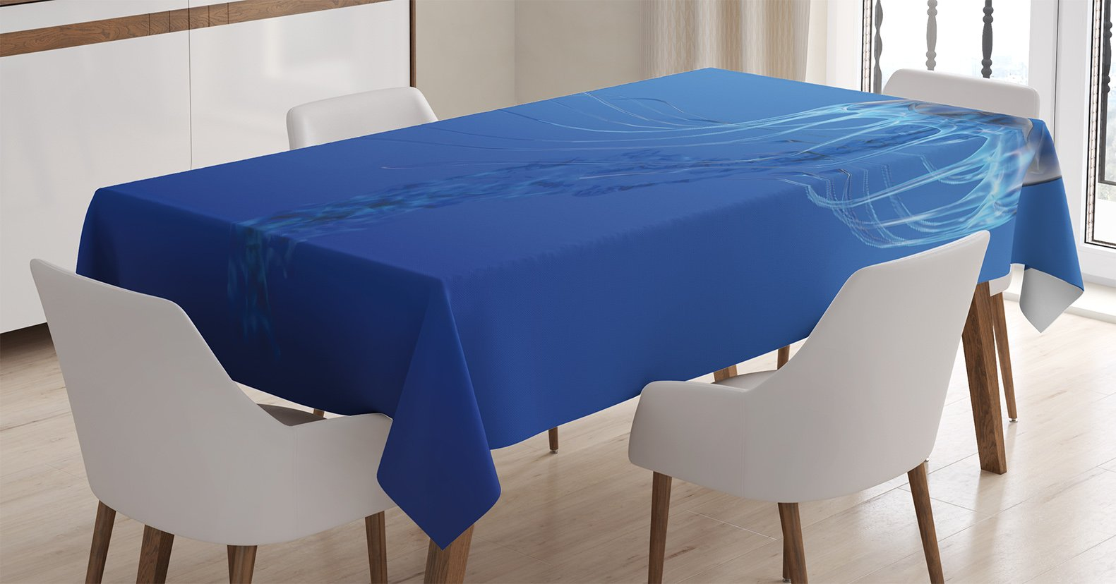 Ambesonne Jellyfish Tablecloth, Blue Spotted Jelly Fish Aquarium Life Marine Animals Ocean Predator in Deep Water Aquatic, Dining Room Kitchen Rectangular Table Cover, 52 X 70 inches