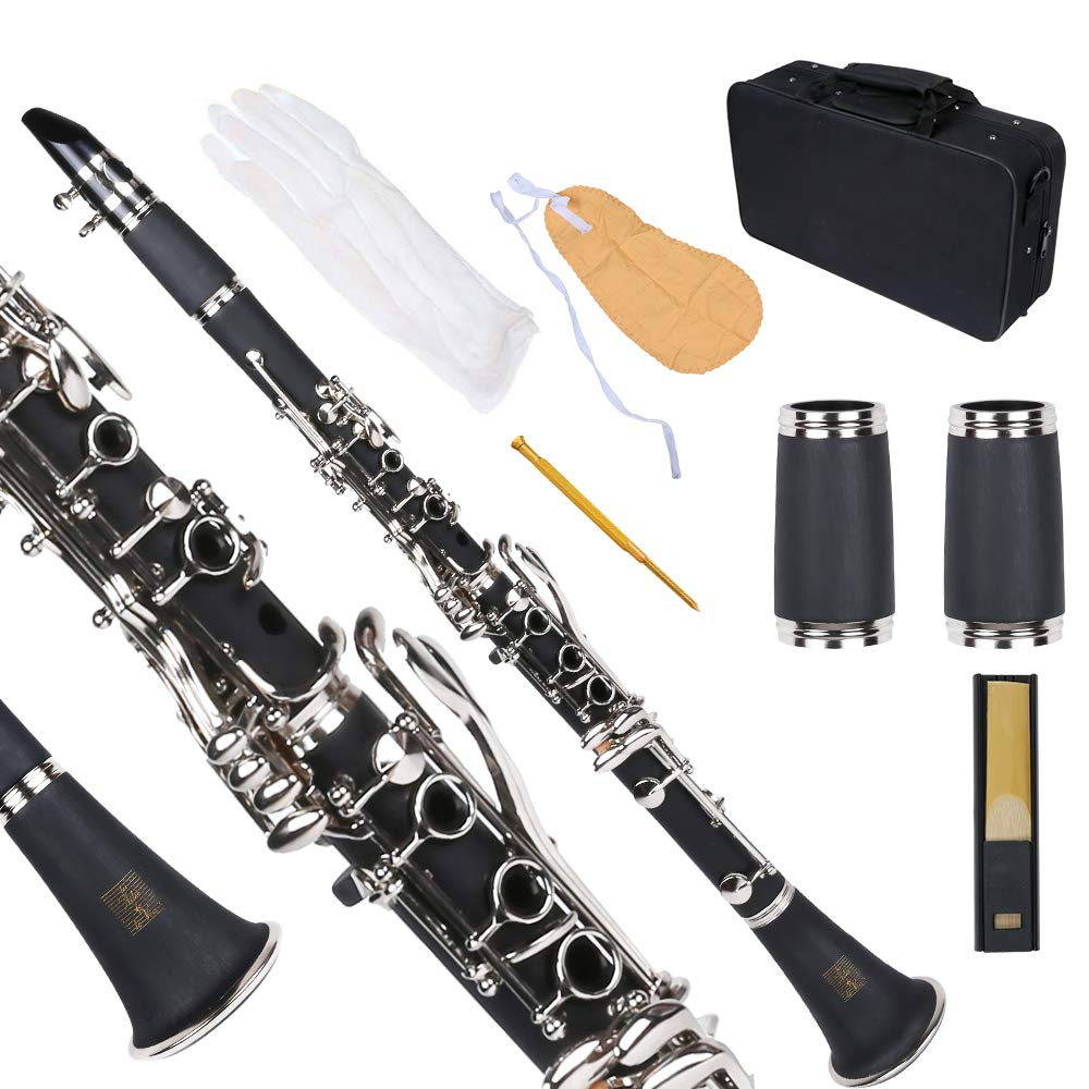 Bb Flat Clarinet Black, Les Ailes de la Voix Student Clarinet ABS with Case, Mouthpiece, Care Kit and Free Adjustable Screwdriver, Band Clarinet for Beginner