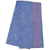 JB Prince Premium Side Towel- Blue Check with Red Stripe 19.5 x 39.4 inches - 5 pack