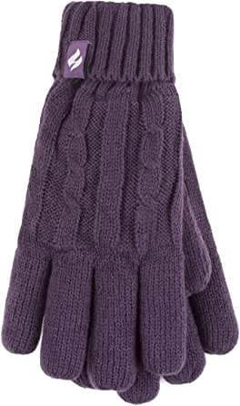 Heat Holders Thick Warm Fleece Lined Cold Weather Winter Thermal Gloves Purple Small Medium