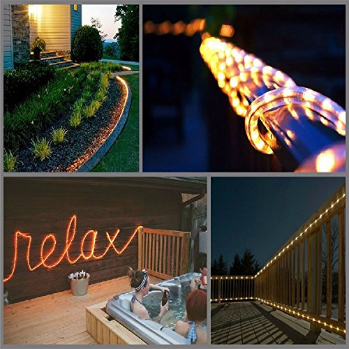 STARSHINE 110V 2-Wire Waterproof LED Rope Light Kit for Background,Outdoor,Christmas Lighting,Trees,Bridges and Eaves Decorations (Warm White/50FT)