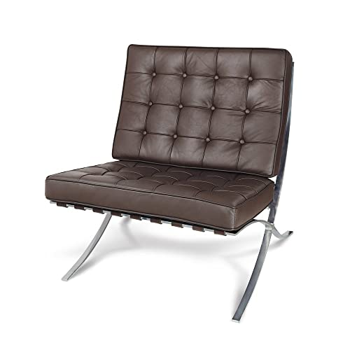 ARTIS D COR Premium Lounge Chair Made with Top Grain Italian Leather - Brown