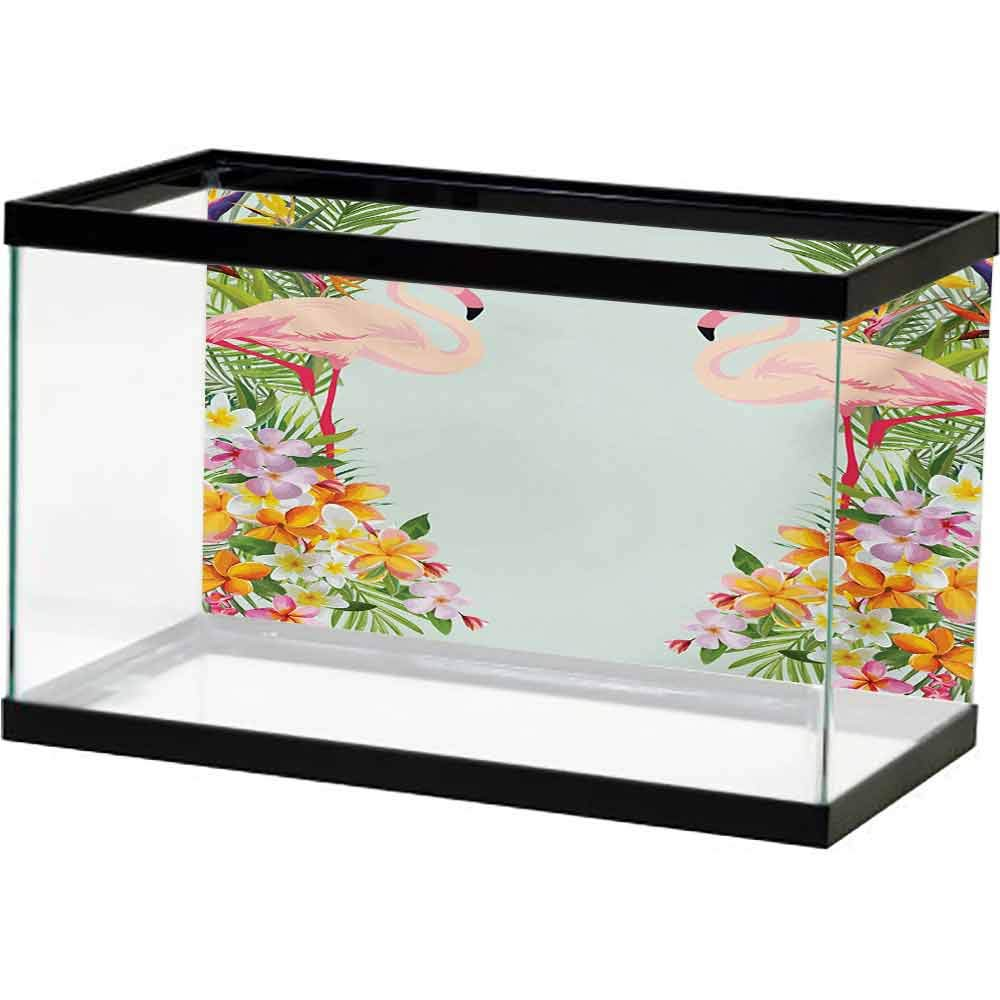 bybyhome Seabed World Backdrop Floral,Flamingo Birds and Tropical Flowers Exotic Hawaiian Wildlife Animals Print,Baby Blue and Orange Background Aquarium by bybyhome