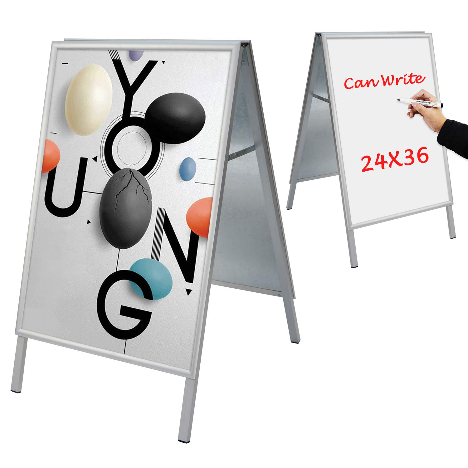 T-Sign Snap Open Aluminum A-Frame Sidewalk Sign for 24'' x 36'' Poster, Includes White Dry Erase Surface - Double Sided Sandwich Boards for Indoor and Outdoor Advertising, Silver