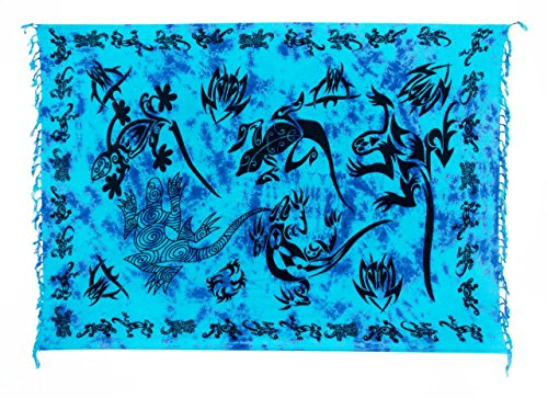 Ca 80 Modelle Sarong Pareo Wickelrock Handtuch Strandtuch Wickelkleid Deko  Gecko Bemalt Fair Trade Türkis Lila