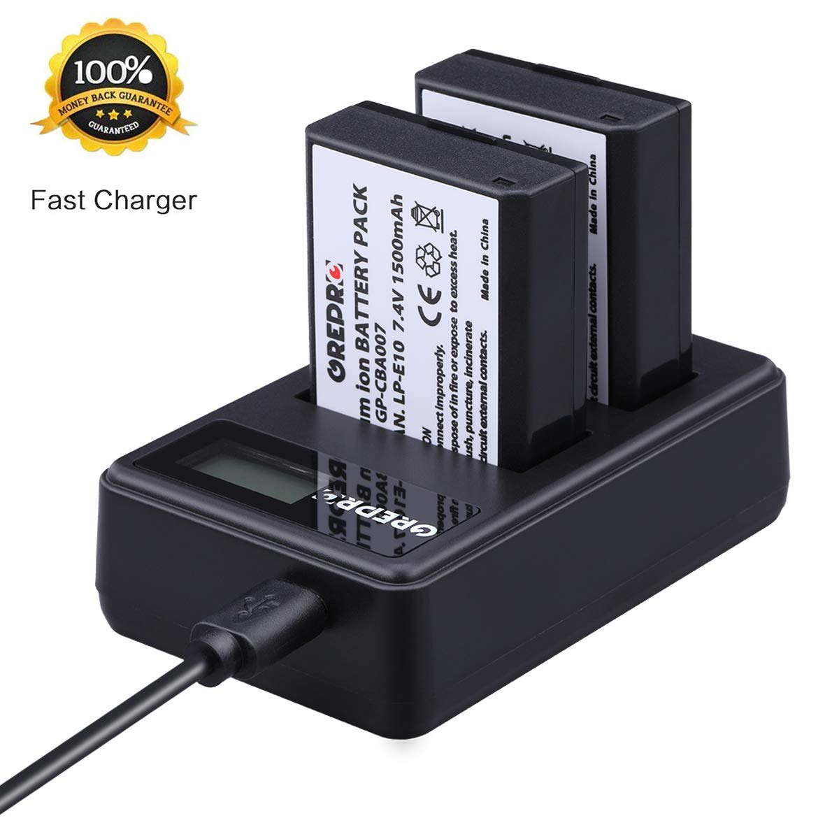 Grepro Replacement LP-E10 Camera Battery Charger LCD Quick Charger with Dual Slot Charging for Canon EOS Rebel T3 T5 T6 T7 Kiss X50 Kiss X70 EOS 1100D EOS 1200D EOS 1300D EOS 2000D and More.
