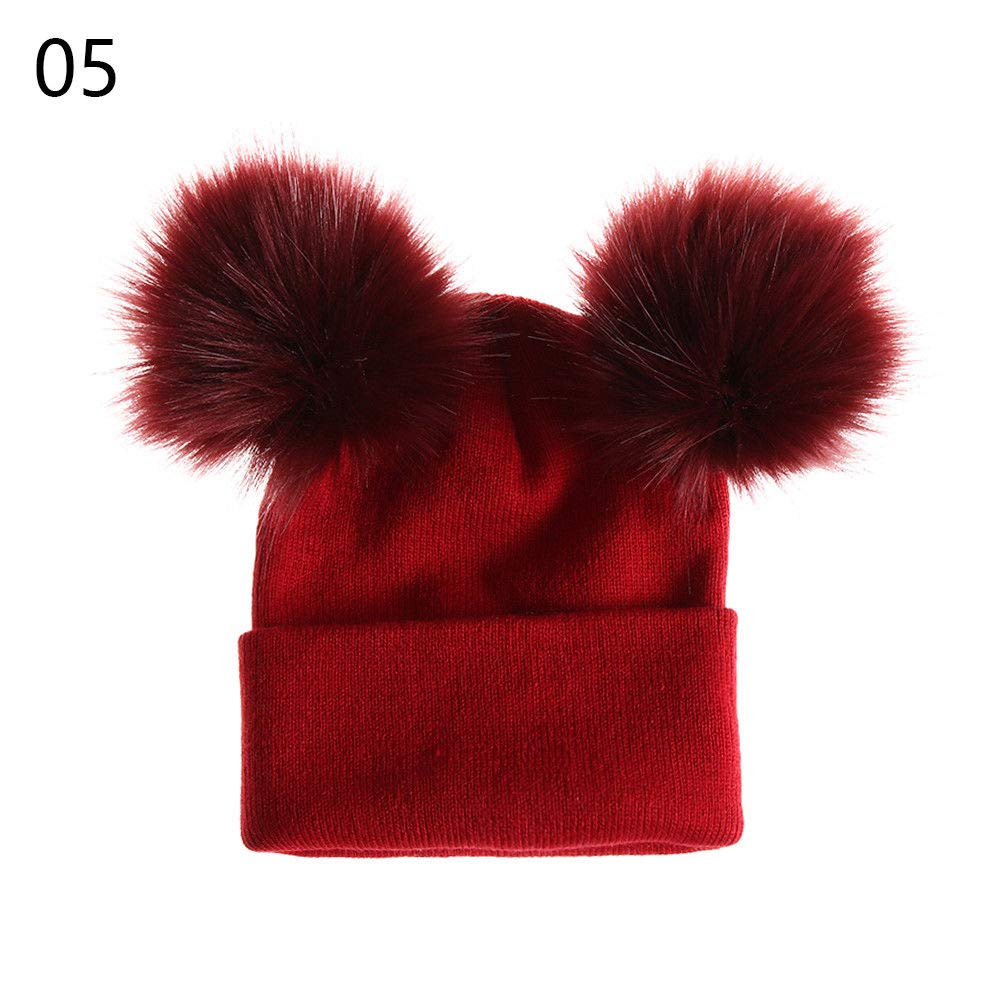 1 PCS Warm Girl Double Fur Ball Knitted Hat Winter Bobble Fashion Cotton Beanie NEW SNOW