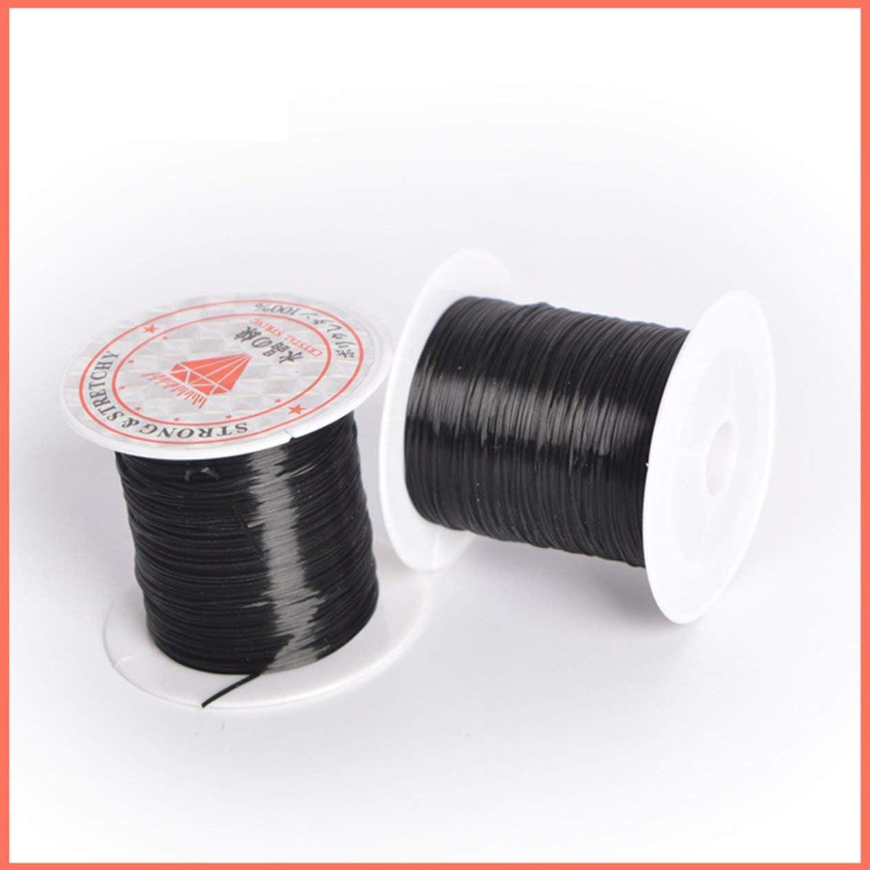 BCVBFGCXVB 40 m Noir 43 Verges Plat /élastique Cristal Stretch cha/îne Cordon en Polyester pour la Fabrication de Bijoux Bracelet Perles Fil Artisanat Accessoires