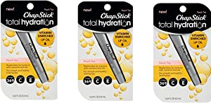 3 Pack Chap Stick Total Hydration Vitamin Enriched Lip Oil Peach Tea