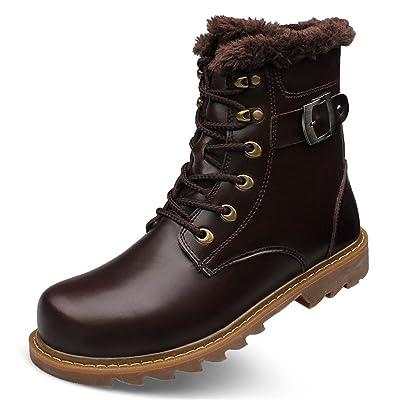 ailishabroy Botas de Tobillo de Invierno Cálido Para Hombre Zapatos de Senderismo de Alta Calidad de Cuero Genuino Hombres
