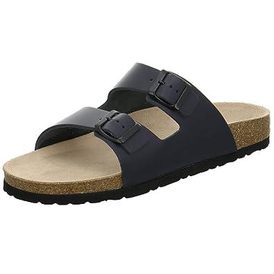 AFS-Schuhe 3100 Bequeme Leder Pantolette für Herren, Hausschuhe Arbeitsschuhe Größe 47 Schwarz Glattleder