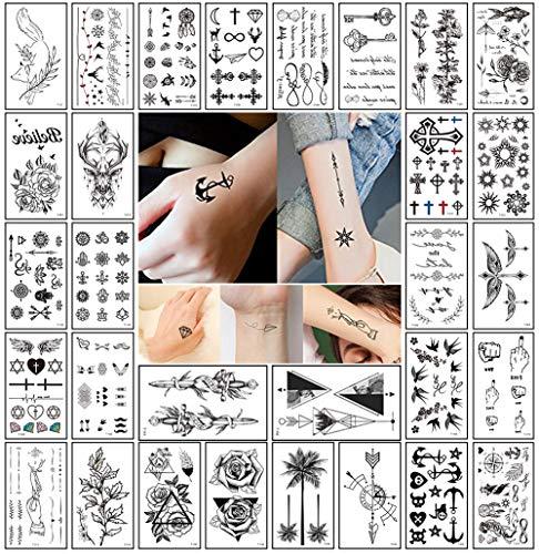 Realistic Small Temporary Tattoos for Women Men Adult Kids(30 Sheets) Waterproof Black Tiny Temporary Tattoo Body Sticker Hand Neck Wrist Temp Tattoo Paper Word Cross Anchor Geometric Fake Tattoo