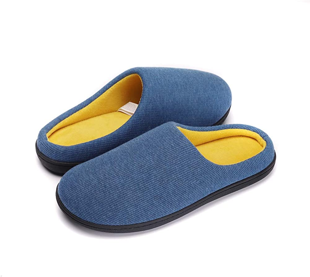 PromArder Mens Women/'s Cozy Memory Foam Slippers Two-Tone House Shoes Plush Fleece Lined Anti-Slip Indoor Outdoor Shoes