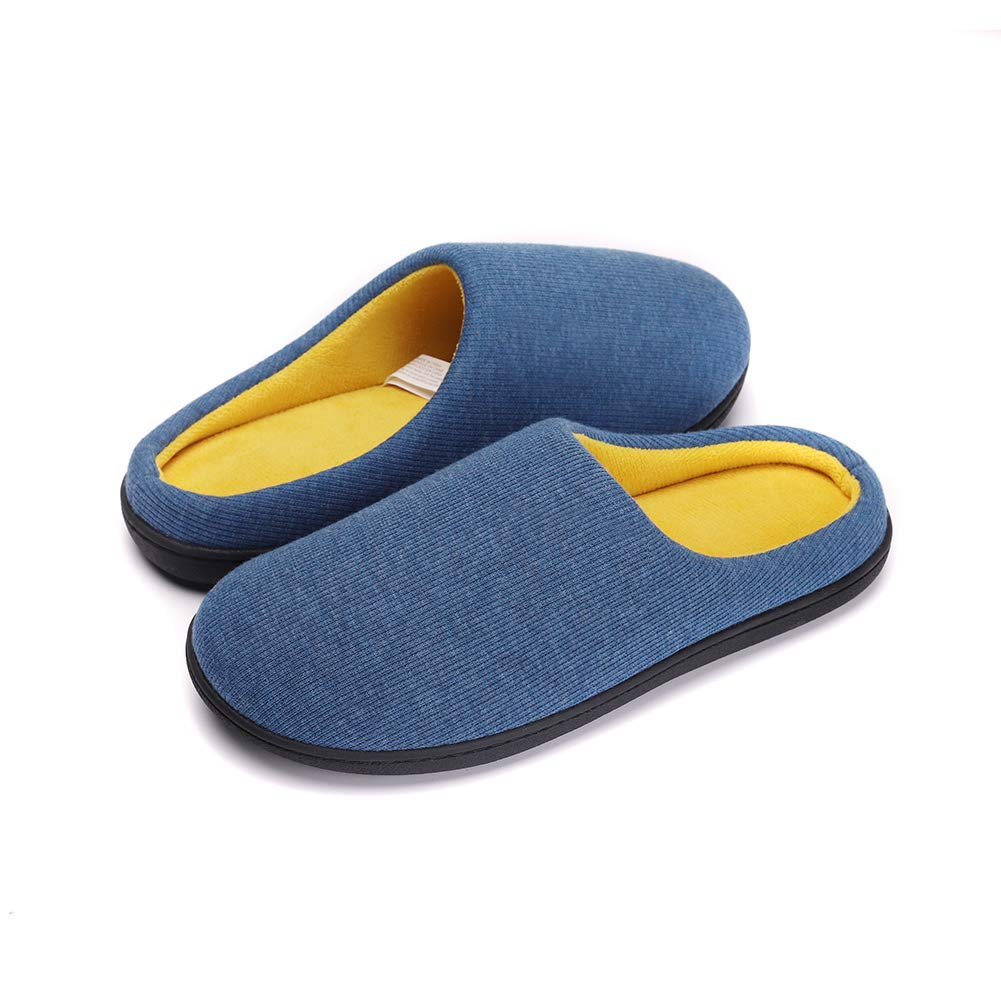 Men's Comfort Memory Foam Slippers Washable Flat Closed Toe Ultra Lightweight Indoor Shoes with Non-Slip Sole Blue-L