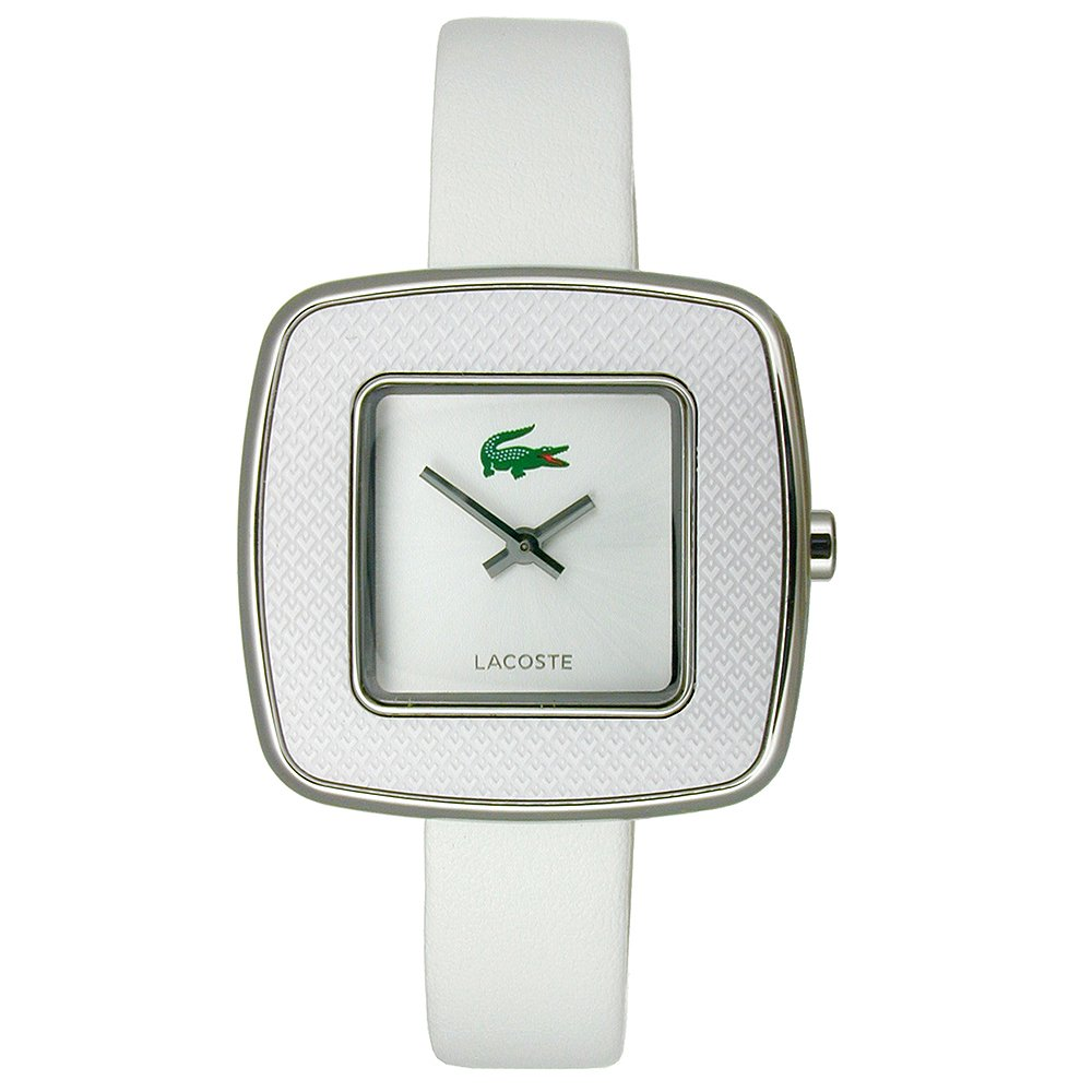 Lacoste Manila Two-Hand Silver and White Leather Women's watfch #2000748