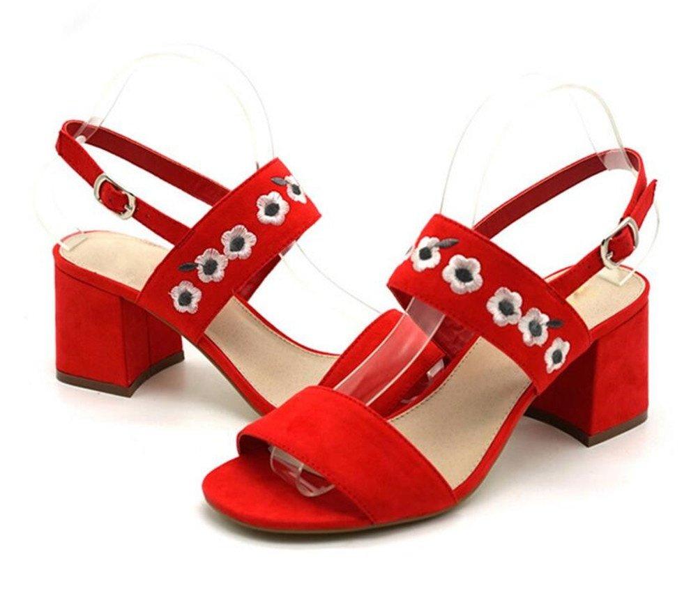 Frau Schuhe 40 Sandalen Samt Gestickt Blockabsatz Größe 35 bis 40 Schuhe ROT c8b947
