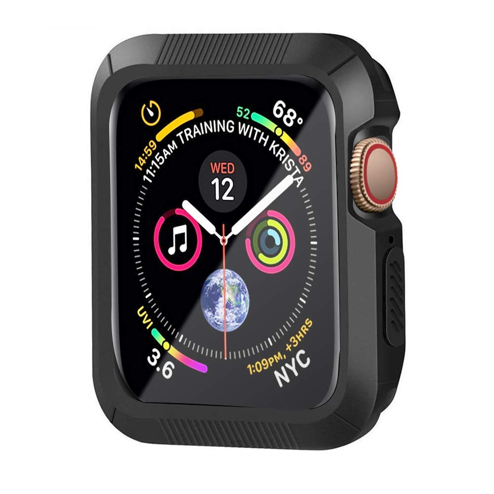 HONEJEEN Compatible with Apple Watch Case Series 4 44mm, Shock Proof and Shatter-Resistant Protective Bumper Case Replacement for iWatch Series 4 - Black