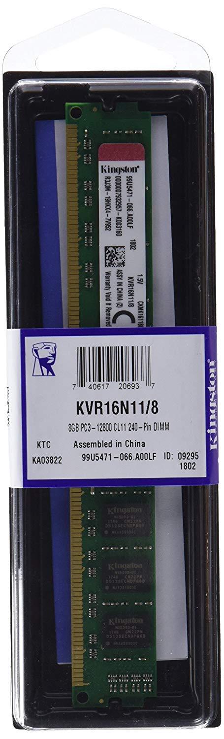 Memoria Ram 8gb Kingston Valueram 1600mhz Ddr3 (pc3-12800) Non-ecc Cl11 240 Pin Dimm Motherboard (kvr16n11/8)