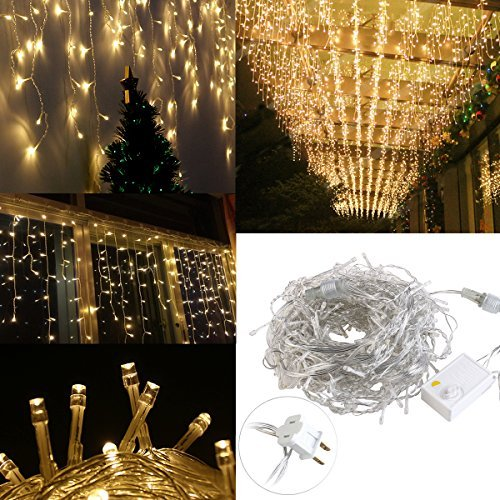 LEORX 216 Led Icicle Lights, 8 Modes, Indoor&Outdoor, Great for Party Home Garden Seasonal Decorations (Warm White)