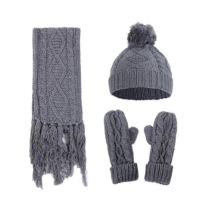 4c448d5ce7ea6f 3 in 1 Frauen Strickmütze Schal und Handschuhe Set Damen Winter Set Beanie Mütze  Schal und
