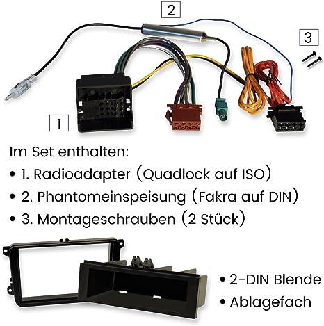 2-DIN und 1-DIN Einbauset f/ür VW zum Einbau von Autoradios und Navis mit Radioblende und Quadlock-Adapter F/ür viele Volkswagen Modelle geeignet.