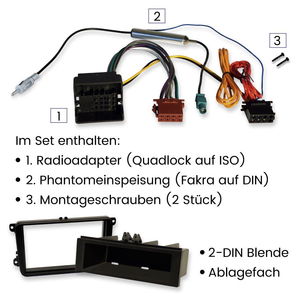 SKODA Roomster Fabia Rapid Octavia  Radioblende Radio Blende Quadlock ISO Kabel