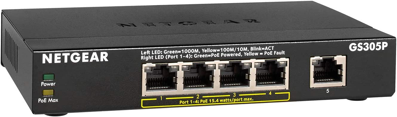 Netgear Switch GS305P-100PES Gigabit Ethernet, Estojo metálico, Portas 5, 4 PoE