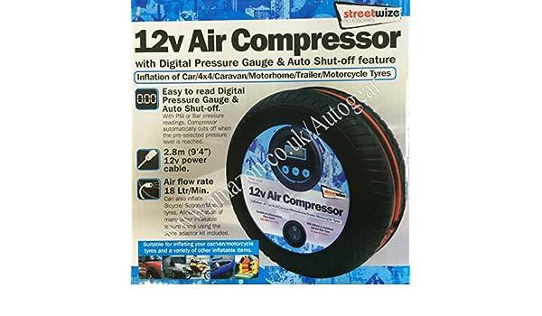 Streetwize swac15 12 V Compresor de aire digital coche neumático forma inflador bomba eléctrica: Amazon.es: Coche y moto