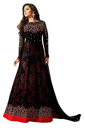 Monika Silk Mill Women\'s Latest Black Embroidered Party wear ...
