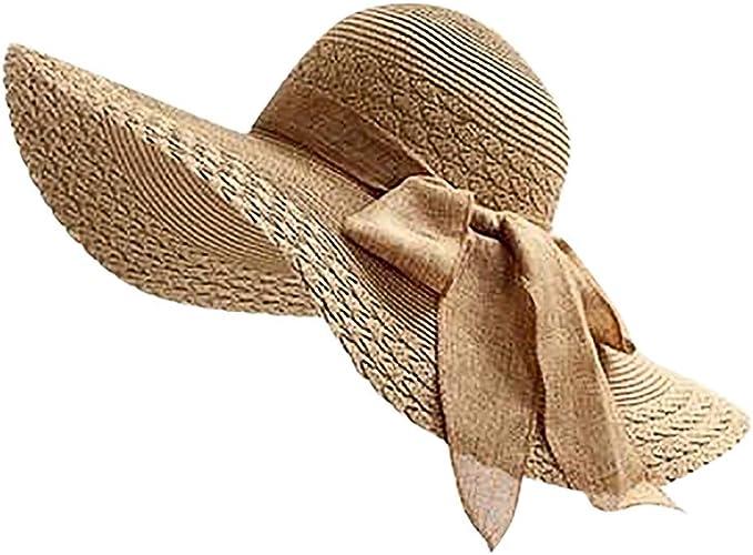 Staresen Sombrero Mujer Sombrero Arco de Paja Playa Sombrero al ...