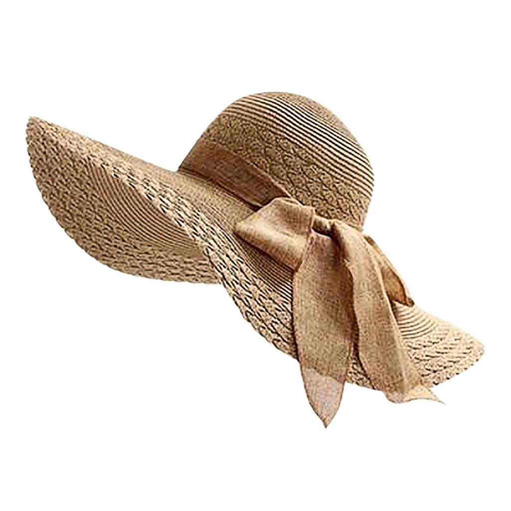 NRUTUP Women Colorful Big Brim Straw Bow Hat Sun Floppy Wide Brim Hats Beach Cap Khaki,Free Size