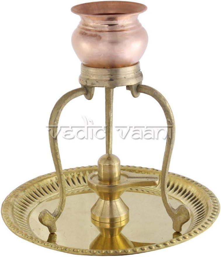 Vedic Vaani Lord Shiva Brass Shivling Abhishek Stand with Copper Jaldhari for Lord Shiv Shankar Abhishek and Puja, Maha Shivratri Pooja