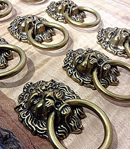 CHENGYIDA 10 - PACK LION HEAD ART DECO KITCHEN CABINET DRAWER KNOB PULL VICTORIAN DRESSER HANDLE WITH SCREWS ()