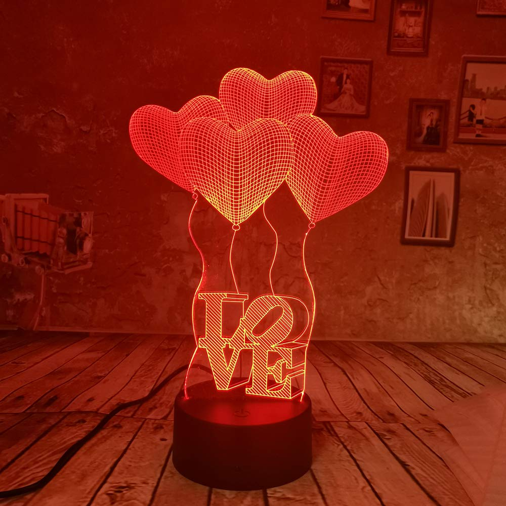 BFMBCHDJ 3D Illusion 4 Love Heart Balloons Night Light USB 7 ...