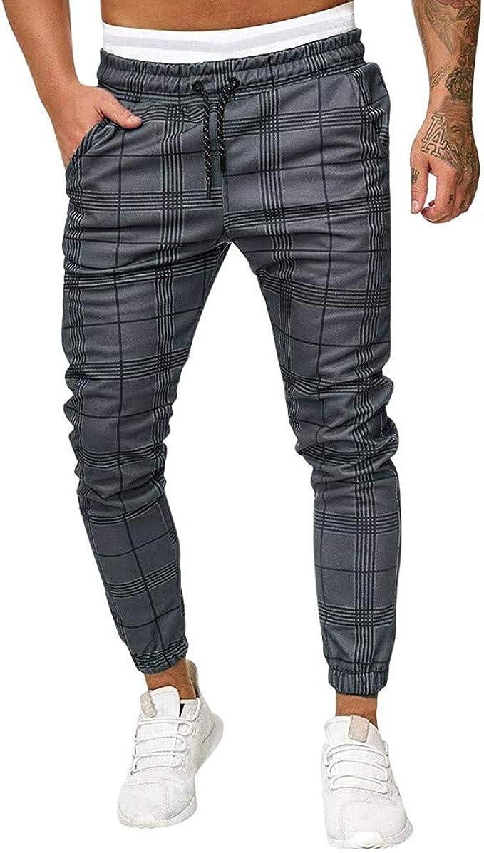 Men Plaid Print Pants Mid-Rise Zipper Pocket Casual Slim Fit Trousers Stylish