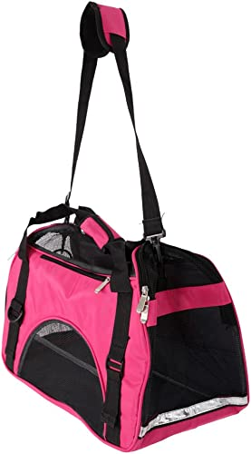 Festnight Soft-Sided Pet Travel Bag Handbag Airline Approved Dog Carrier with Mesh Window Safety Locking Zipper Cats Carrying Case for Kittens Puppies Small Dogs Rose Red