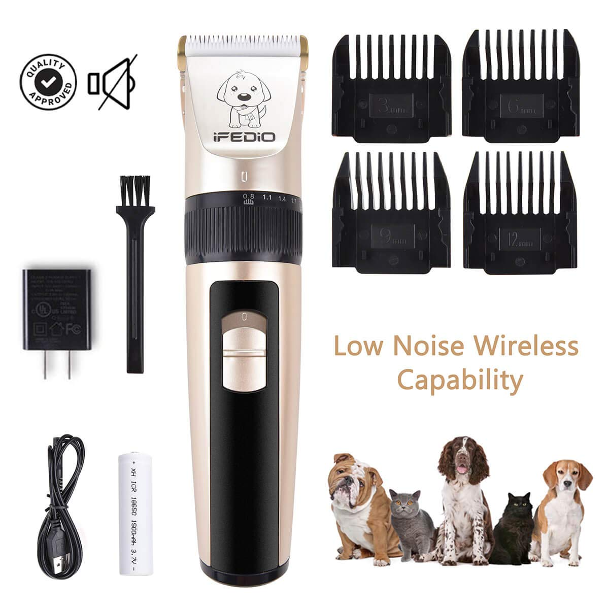 iFedio Dog Clippers Low Noise Cordless Pet Grooming Clippers Trimmer Professional Heavy Duty Rechargeable Cat Grooming Kit Electric Hair Clipper Set for Pets Cats Dogs Puppy