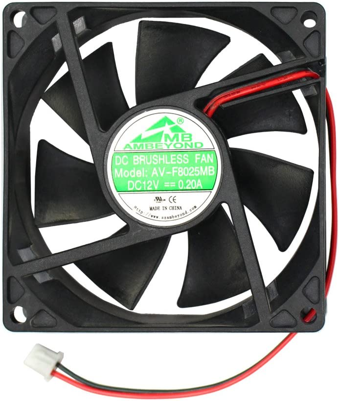 Security-01 80mm by 80mm by 25mm 8025 12V DC 0.20A Ball Bearing Brushless Cooling Fan 2pin AV-F8025MB UL CE