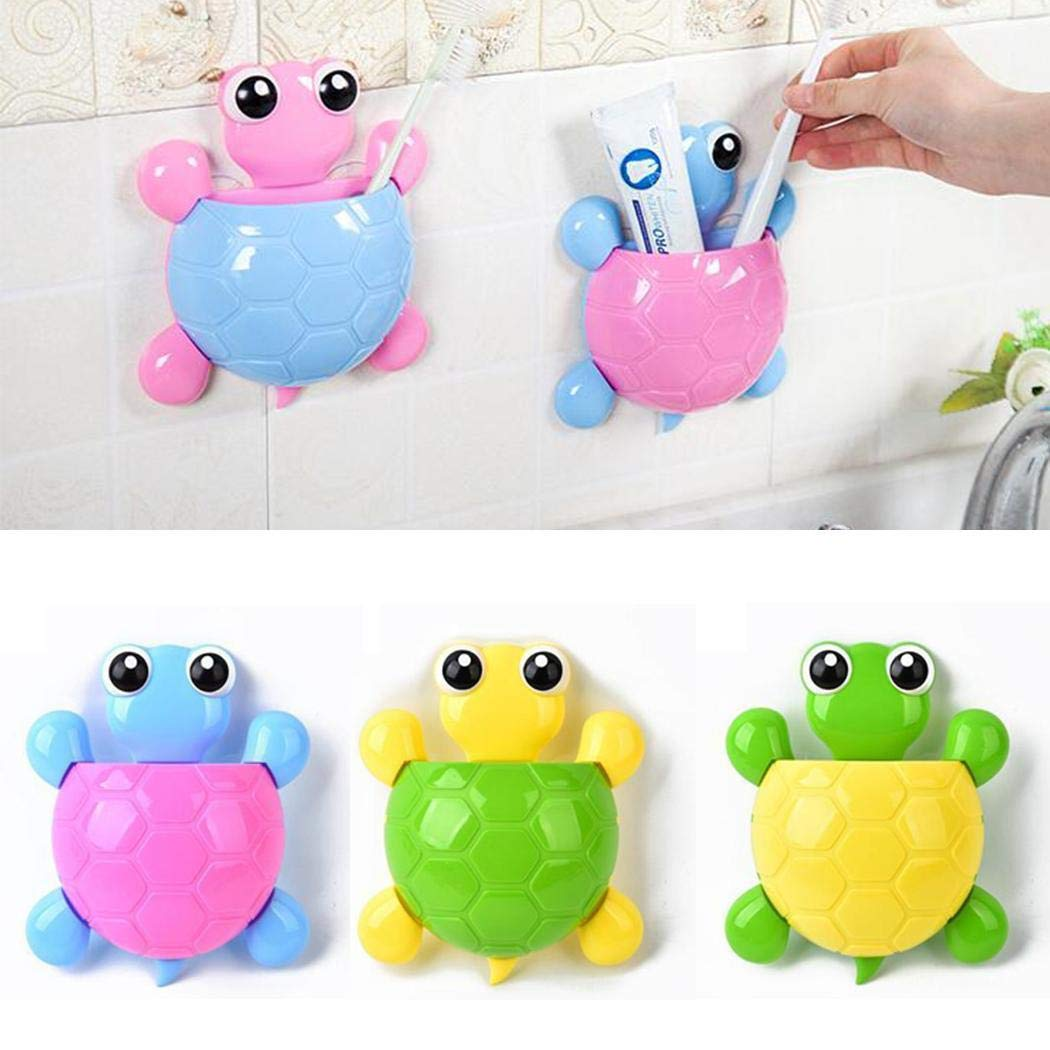 Huhuali Creative Cute Turtle-Shape Toothbrush Holder Strong Suction Cup Storage Rack Toothbrush Holders