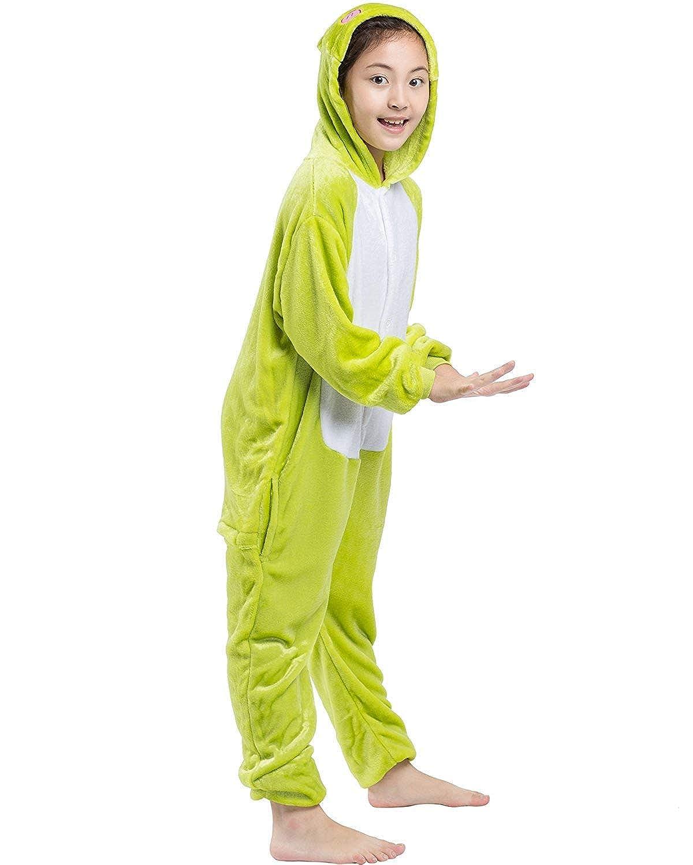 DELEY Kids Pajamas Onesie Cartoon Animal Frog Sleepwear Cosplay Costume Unisex Children Sleepsuits