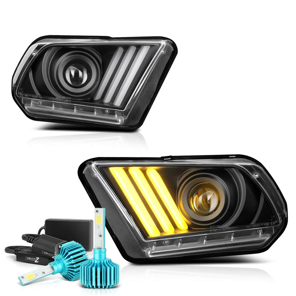 10-14 FORD MUSTANG BASE//GT DRL LED CRYSTAL HEADLIGHT LAMP CHROME DAYTIME RUNNING