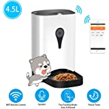 UUNITONA Automatic Pet Feeder for Cats Dogs, Smart Food Dispenser with WIFI Remote Phone Control, App Suitable for Android iOS System, Voice Recording, Preset Timer Programmable, 4.5L