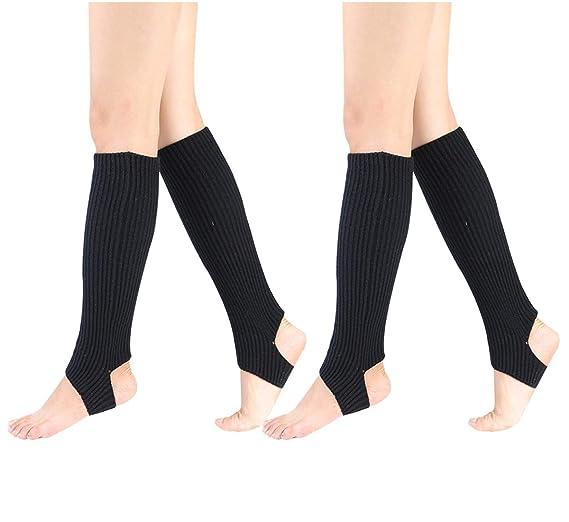 Women Stirrup Leg Warmers Boot Cuffs Socks Knee High Length Crochet