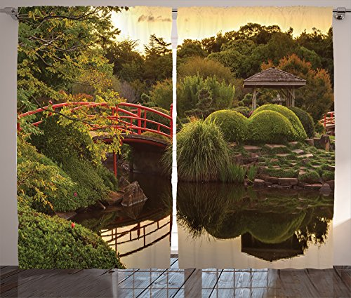 Ambesonne Japanese Decor Curtains, Peaceful Garden in Twilight with Reflections in the Water Red Bridge on Pond Sunset, Living Room Bedroom Decor, 2 Panel Set, 108 W X 84 L Inches, Green Yellow
