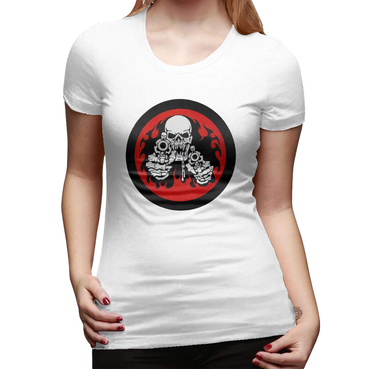 Crewneck Falalaka Skull with Gun00 Womens Cotton Short Sleeve T-Shirt